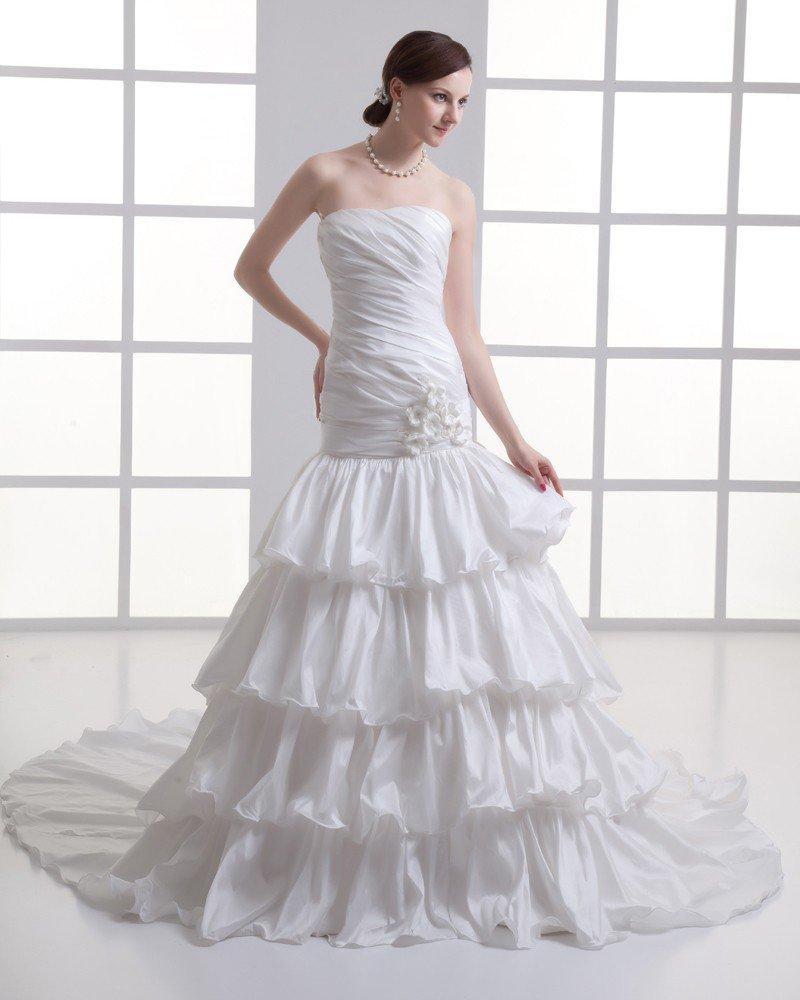 Taffeta Ruffle Flower Strapless Court Train Tiered Mermaid Wedding Dress