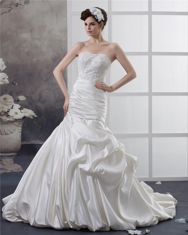 Taffeta Applique Sweetheart Cathedral Train Mermaid Wedding Dresses