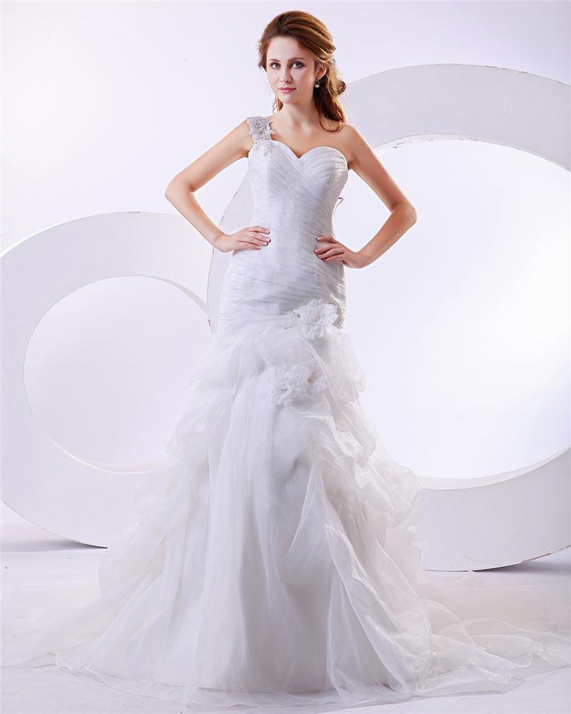 Organza Ruffle Flower One Shoulder Cathedral Train Mermaid Wedding Dresses