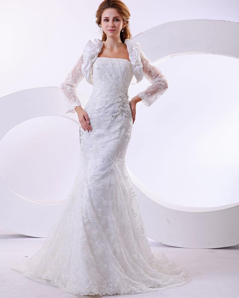 Satin Lace Beading Strapless Cathedral Train Mermaid Wedding Dresses