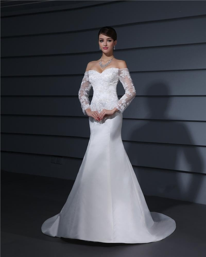 Sweetheart Applique Floor Length Lace Woman Mermaid Wedding Dress