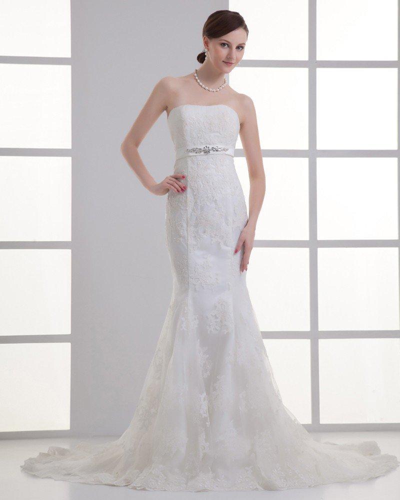 Court Train Strapless Mermaid Wedding Dress