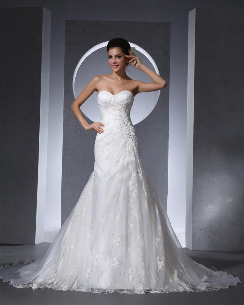 Sweetheart Floor Length Beading Lace Organza Chapel Train Women Mermaid Wedding Dress