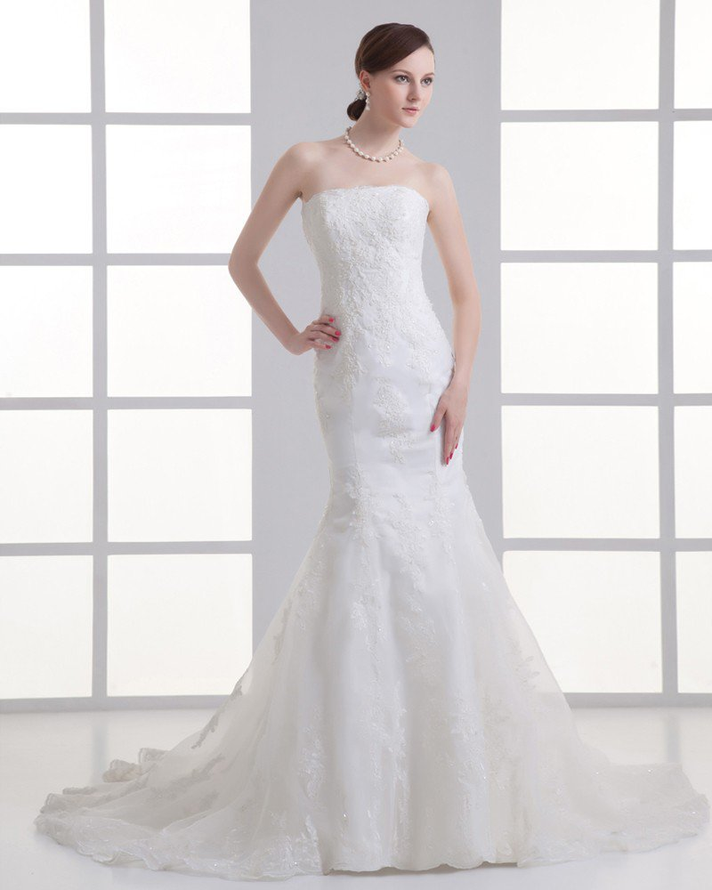 Tulle Applique Beading Court Train Strapless Mermaid Wedding Dress
