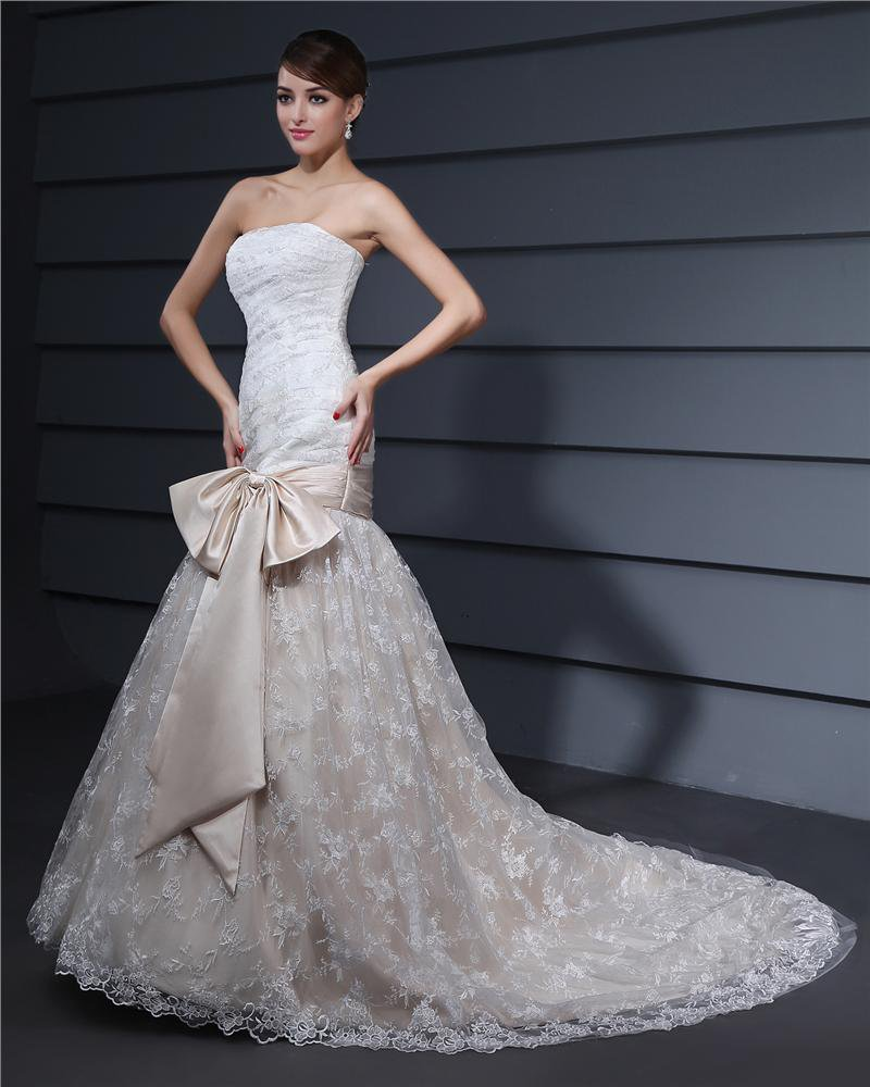 Strapless Bowknot Embroidery Floor Length Lace Woman Mermaid Wedding Dress