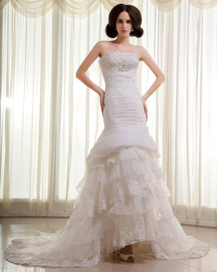 Organza Lace Beading Ruffles Strapless Chapel Train Mermaid Wedding Dress