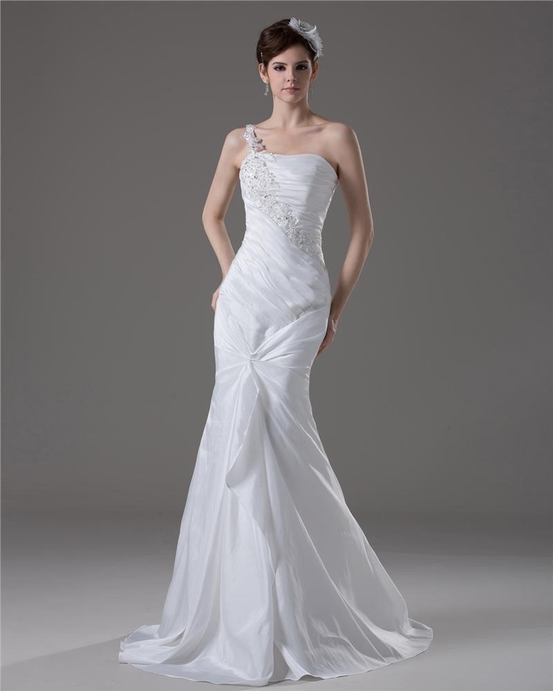 Graceful Beading Ruffles One Shoulder Floor Length Taffeta Mermaid Wedding Dress