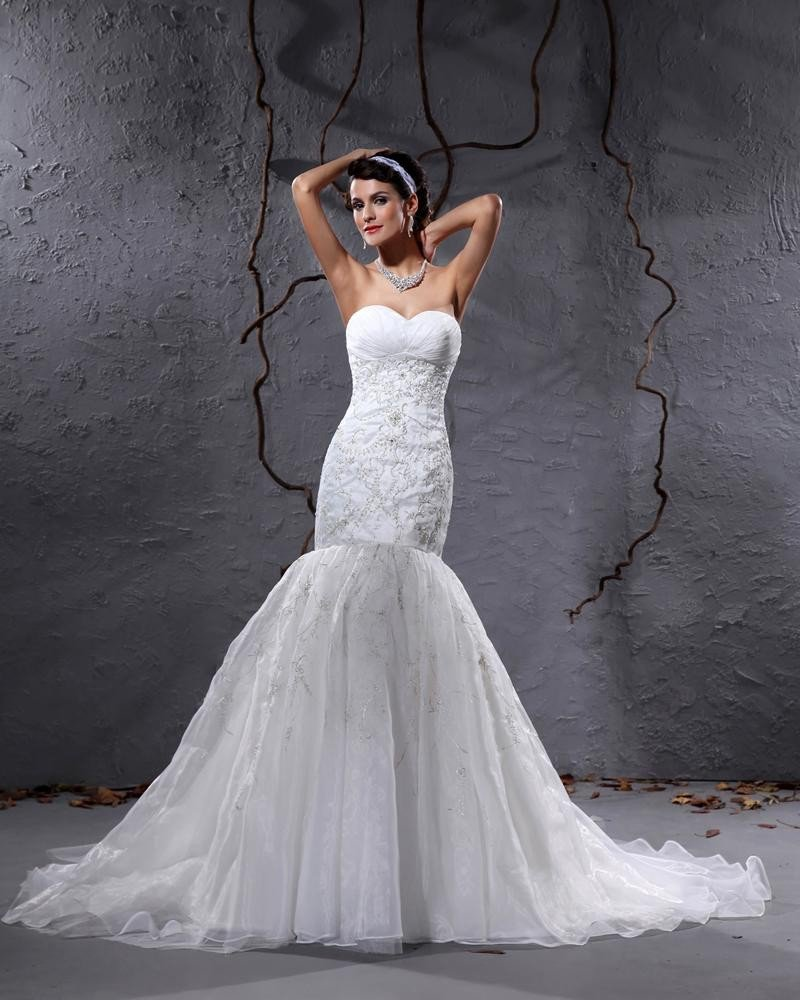 Yarn Sweetheart Applique Chapel Mermaid Bridal Gown Wedding Dresses
