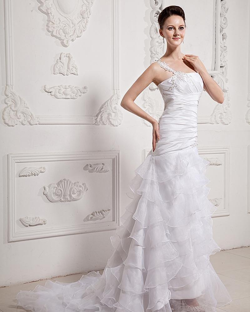Ruffle Beaded One Shoulder Organza Court Mermaid Bridal Gown Wedding Dresses