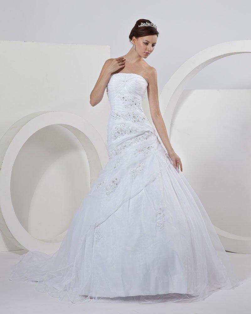 Satin Organza Strapless Beading Applique Ruffles Mermaid Bridal Gown Wedding Dresses