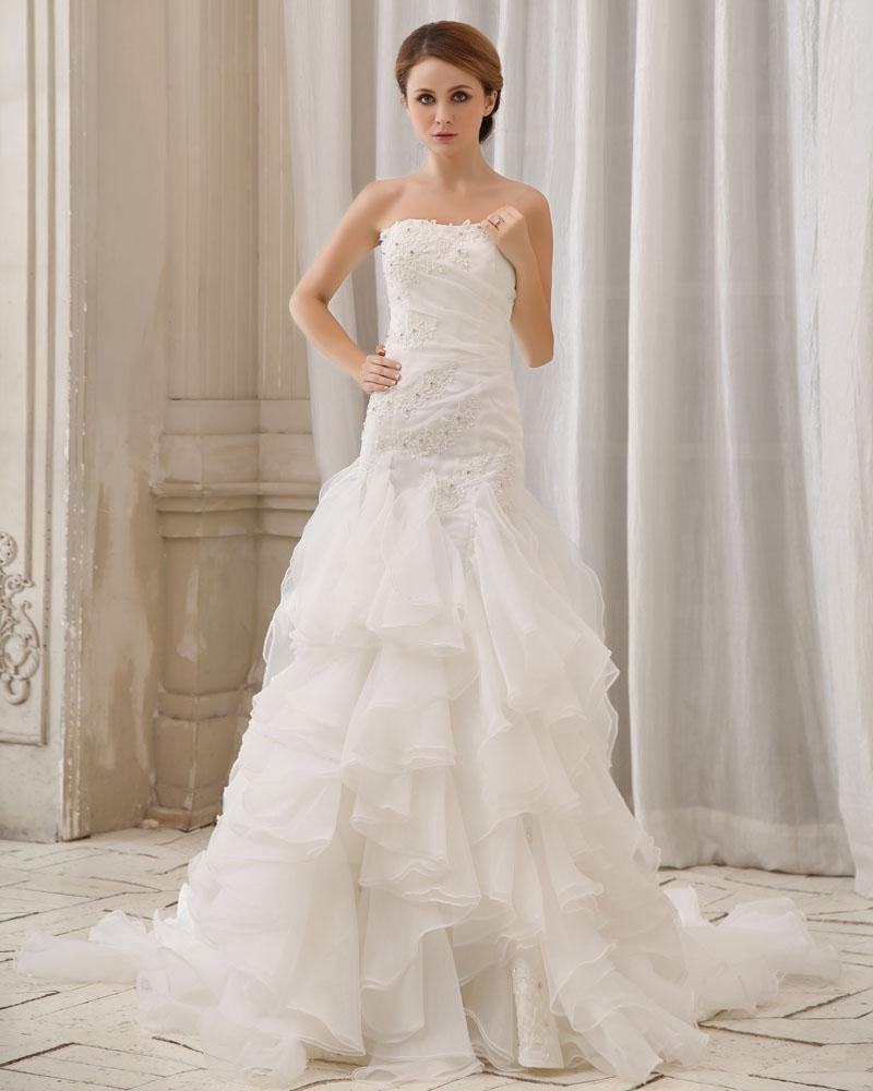Stylish Slim Embroidery Ruffle Floor Length Strapless Organza Stain Mermaid Wedding Dress