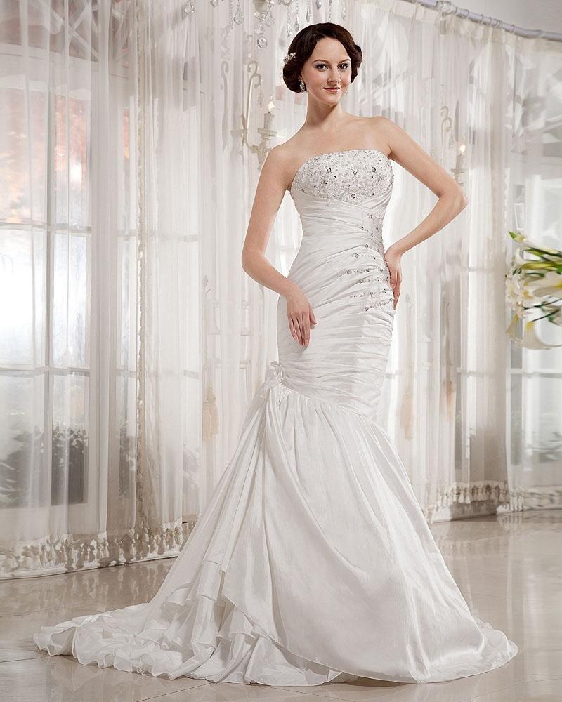 Ruffles Taffeta Beading Applique Strapless Chapel Train Mermaid Wedding Dress
