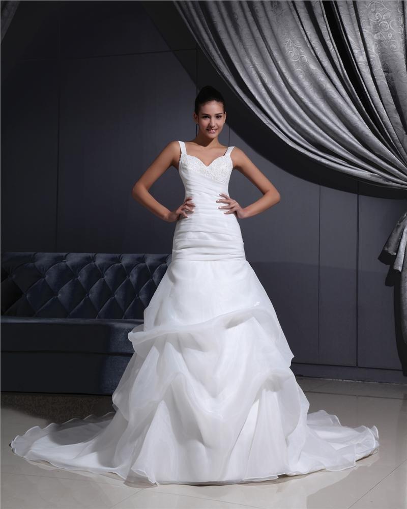 Shoulder Straps Pleated Beading Organza Chapel Train Mermaid Wedding Dress
