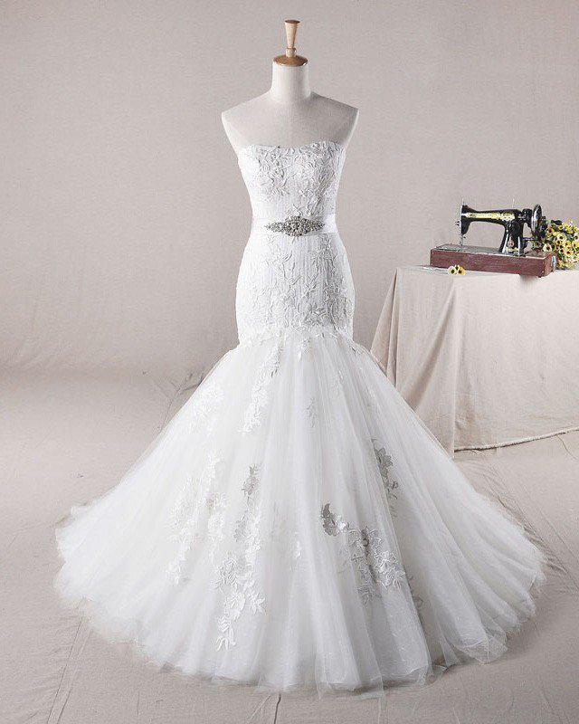 Fahsion Beading Applique Sweetheart Tulle Mermaid Wedding Dress