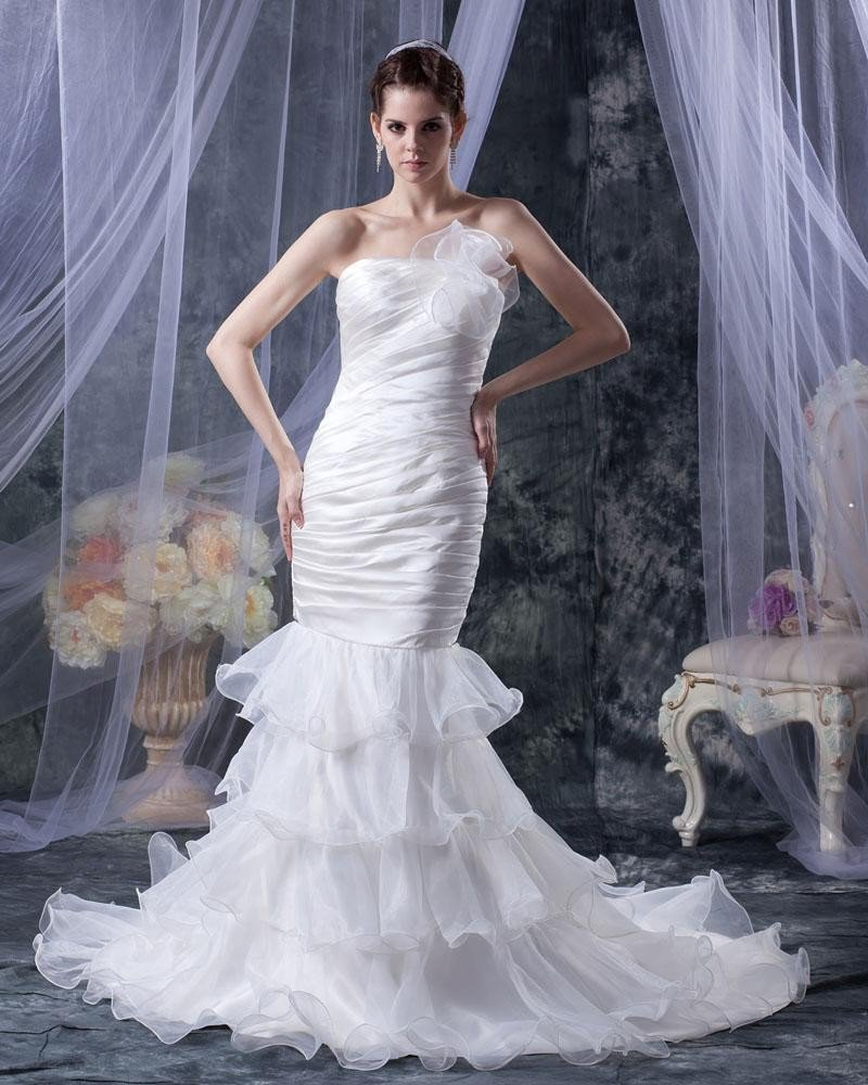 Organza Ruffle Beaded Strapless Court Mermaid Bridal Gown Wedding Dresses