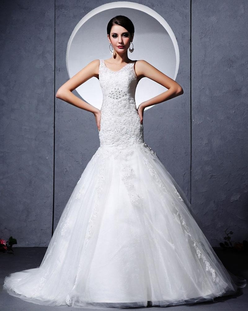 Yarn Satin Lace Applique Cathedral Train Mermaid Wedding Dress
