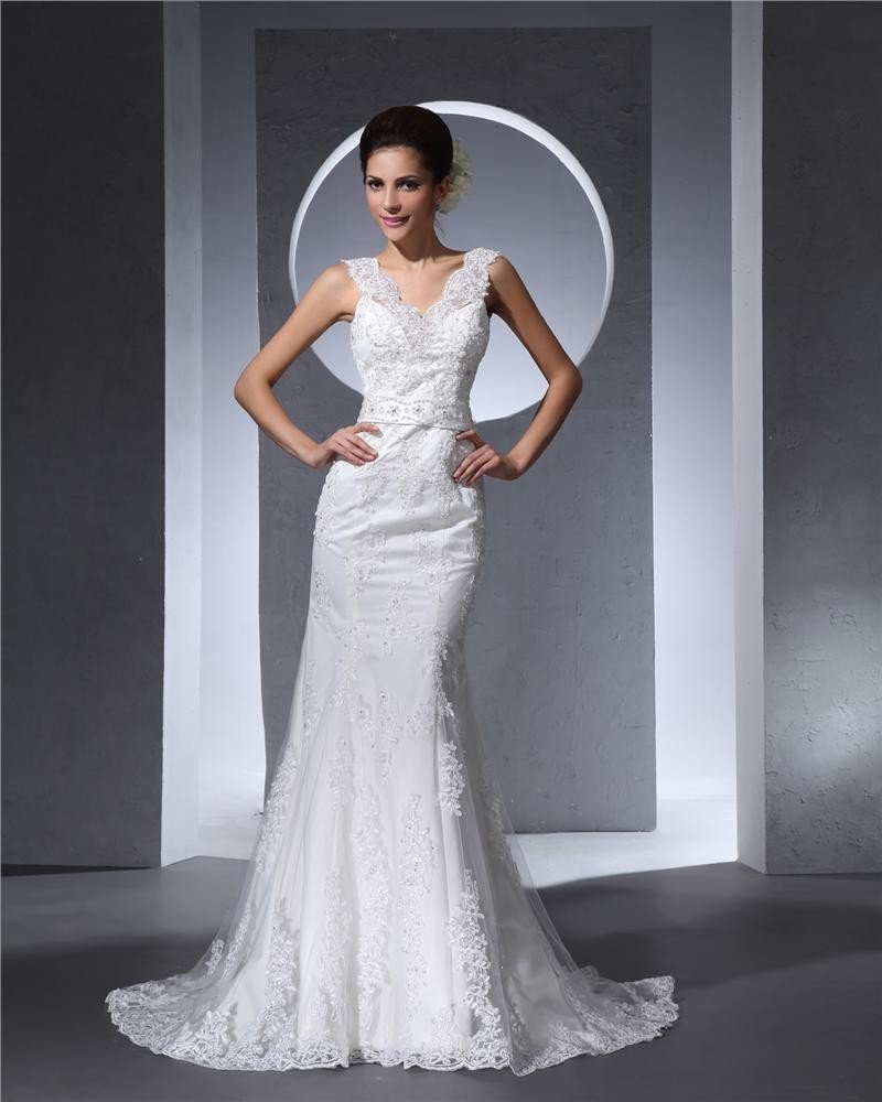 Elegant Floor Length V Neck Beading Lace Satin Women Mermaid Wedding Dress