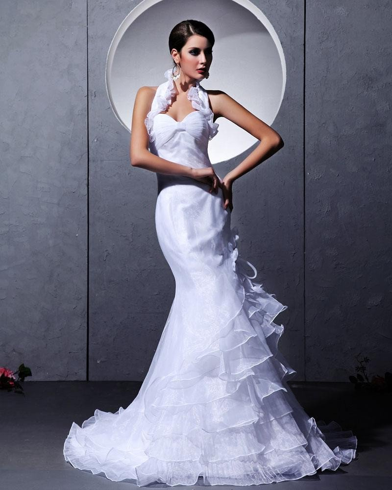 Taffeta Yarn Ruffles Tiered Ruched Halter Chapel Train Mermaid Wedding Dresses