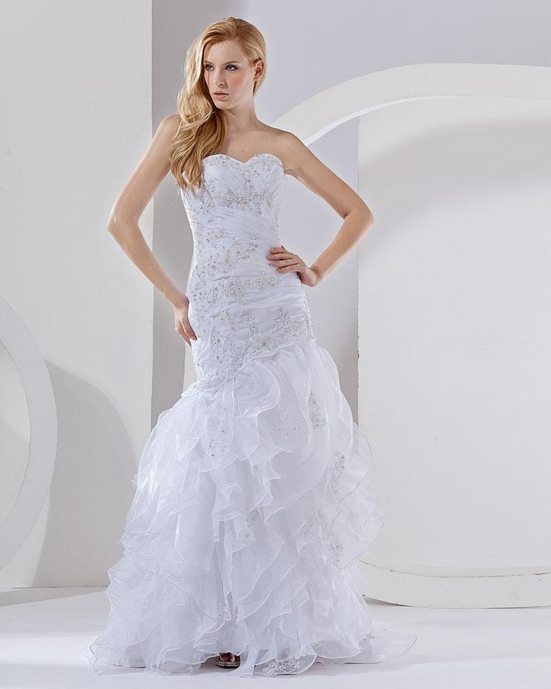 Organza Beading Layered Sweetheart Chapel Train Mermaid Wedding Dress