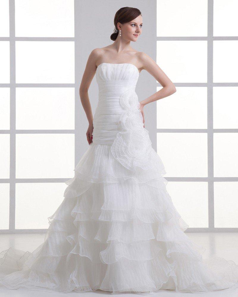 Organza Flower Strapless Court Train Tiered Mermaid Wedding Dress