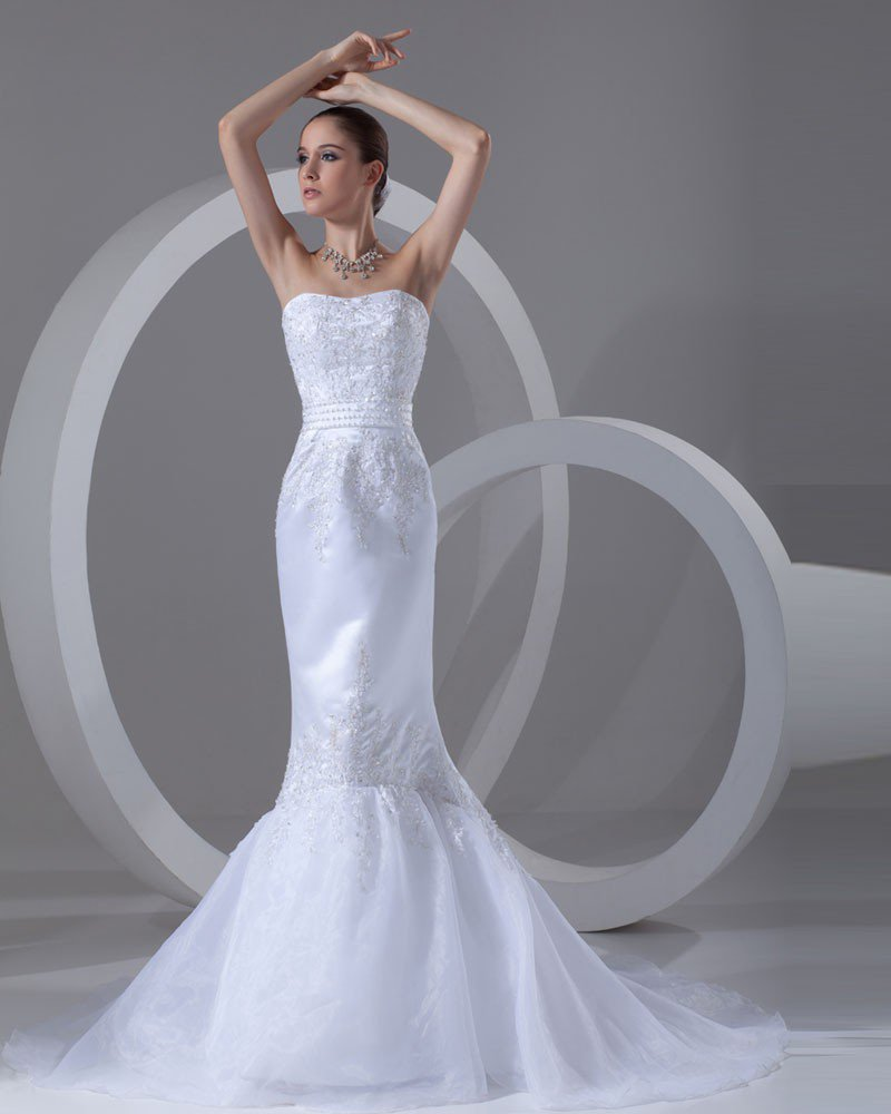 Organza Satin Applique Beaded Sweetheart Court Train Mermaid Bridal Gowns Wedding Dresses