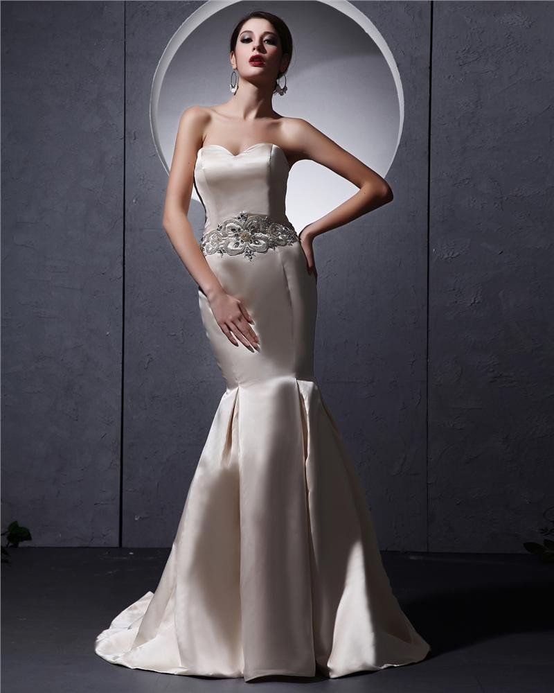 Beautiful Floor-Length Sweetheart Satin Beading Mermaid Wedding Dress
