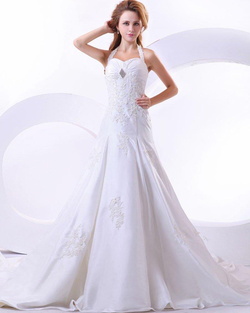 Beautiful Taffeta Beading Applique Sweetheart Cathedral Train Mermaid Wedding Dress