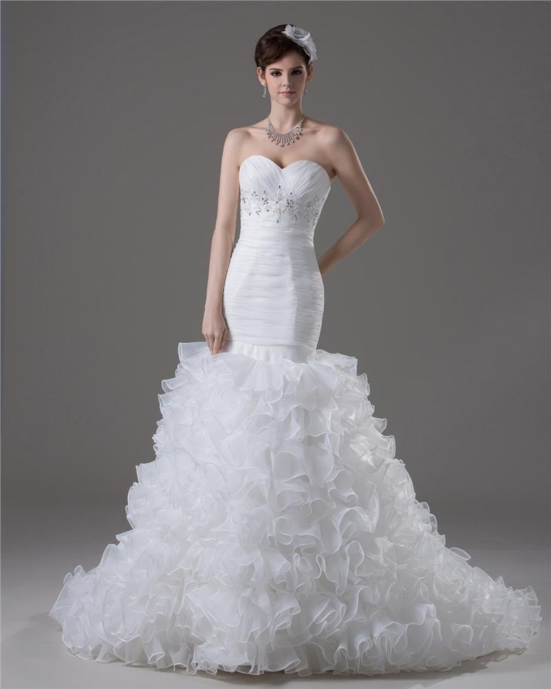 Sweetheart Beading Floor Length Yarn Mermaid Wedding Dress