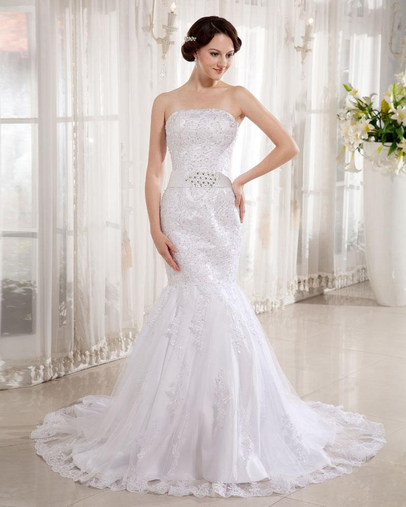 Lace Satin Strapless Applique Beaded Cathedral Train Mermaid Wedding Dresses