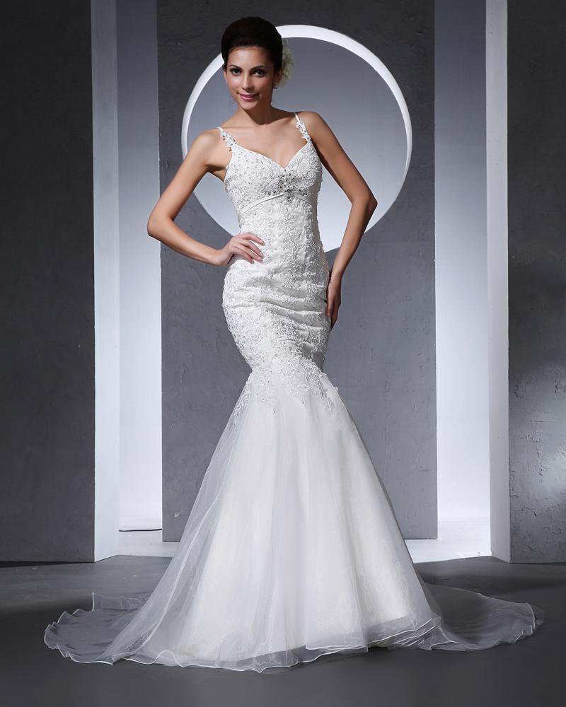 Spaghetti Straps Beading Applique Floor Length Organza Woman Mermaid Wedding Dress