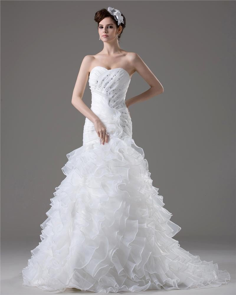 Graceful Beading Ruffles Floor Length Court Train Sweetheart Yarn Mermaid Wedding Dress