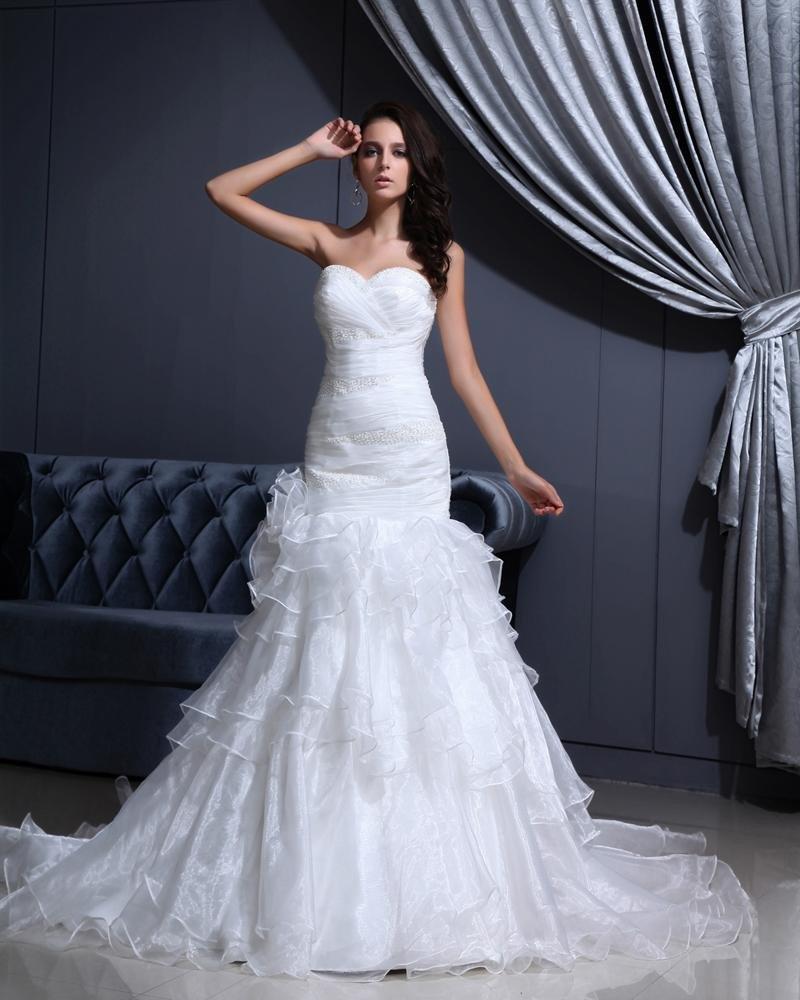 Yarn Beading Ruffle Sweetheart Cathedral Train Mermaid Wedding Dresses