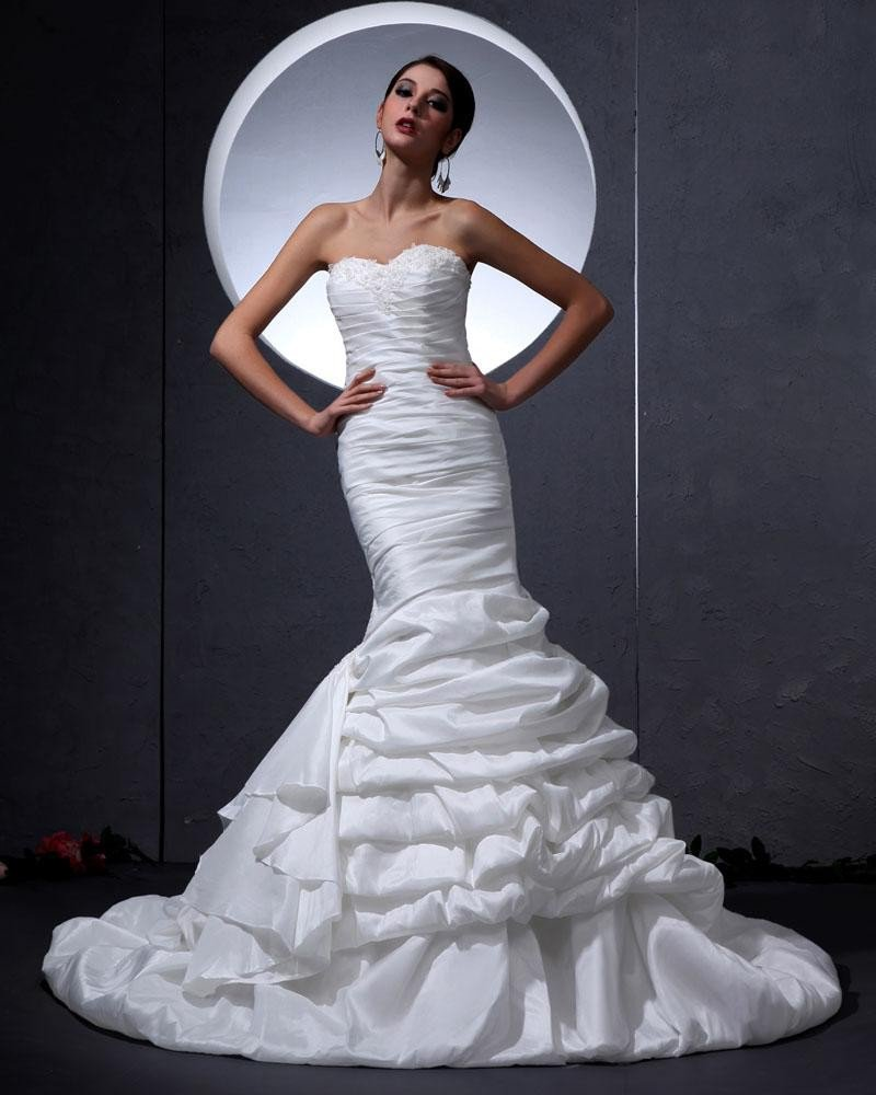 Charmeuse Sweetheart Ruffle Beading Floor Length Mermaid Wedding Dress