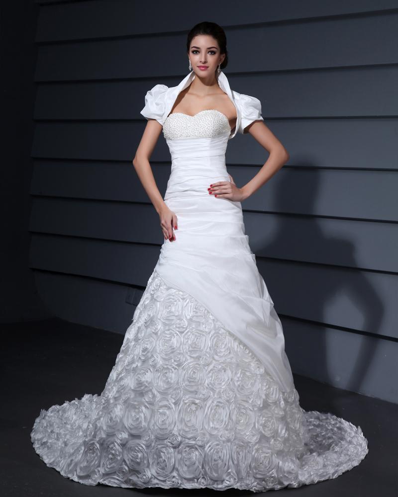 Beading Applique Decor Sweetheart Chapel Train Taffeta Bridal Grown Mermaid Wedding Dress