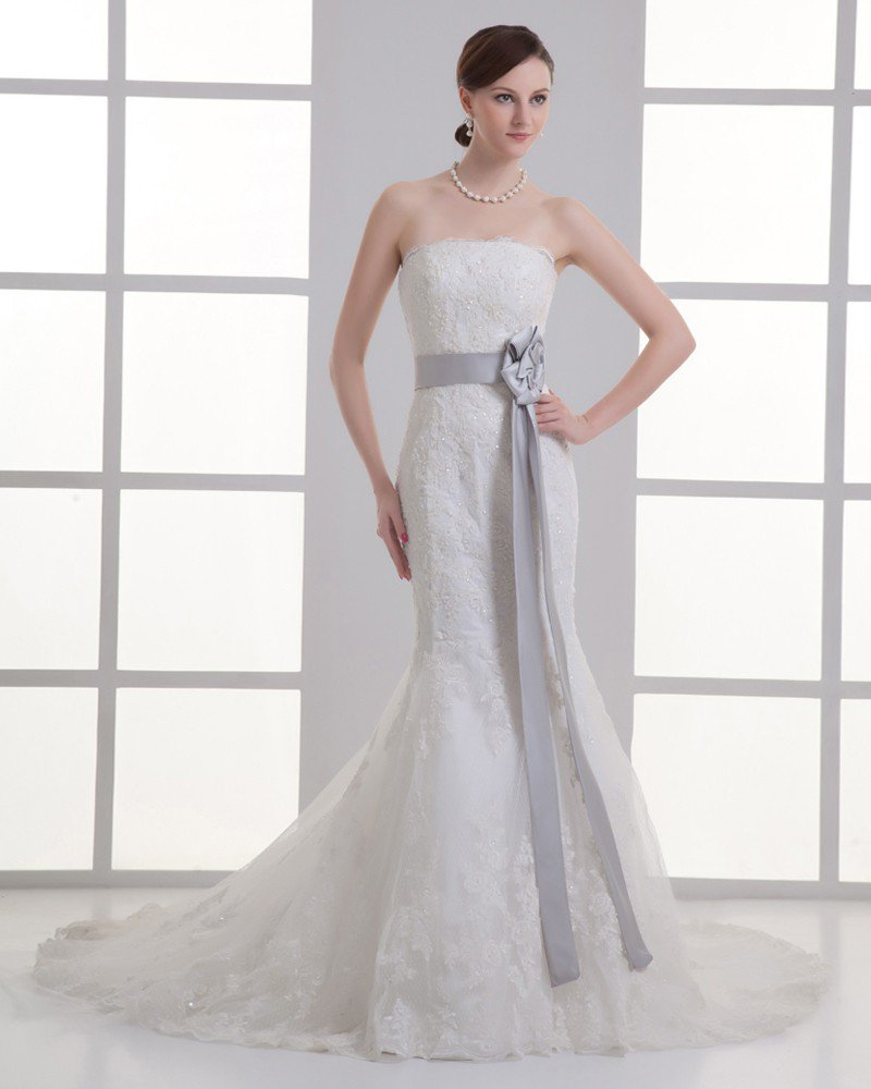 Tulle Applique Beading Strapless Court Train Mermaid Wedding Dress