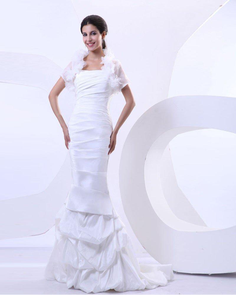 Taffeta Pleat Chapel Train Mermaid Wedding Dress