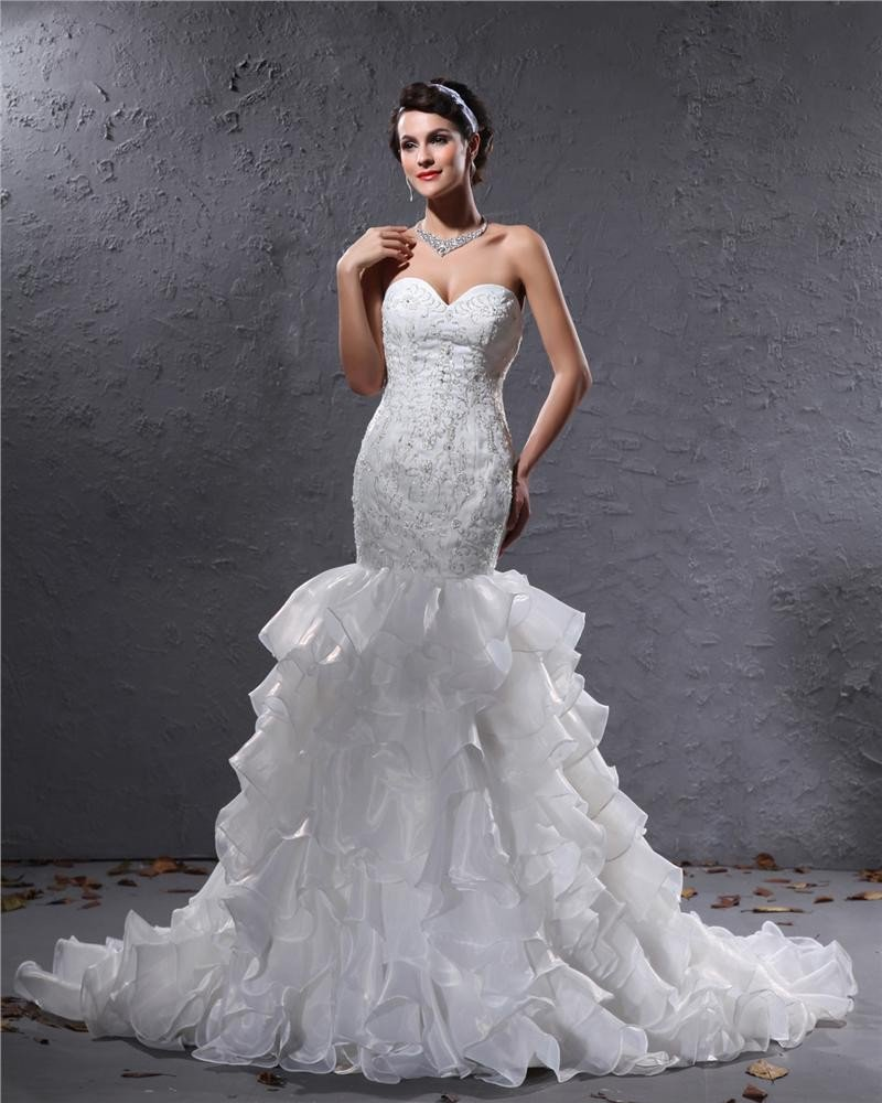 Yarn Satin Lace Flowers Beading Sweetheart Cathedral Train Mermaid Wedding Dress