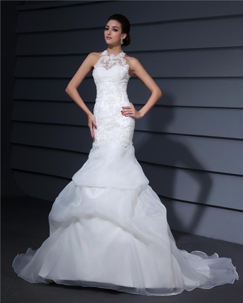 Halter Embroidery Ruffle Floor Length Satin Woman Mermaid Wedding Dress