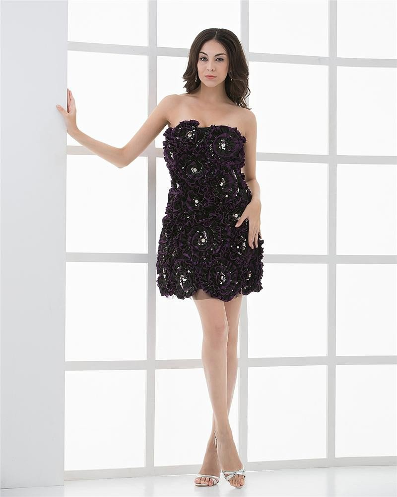 Strapless Thigh Length Embroidered Beading Satin Cocktail Dress