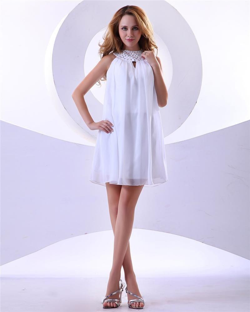 High Neck Chiffon Ruffle Beaded Thigh Length Cocktail Dresses