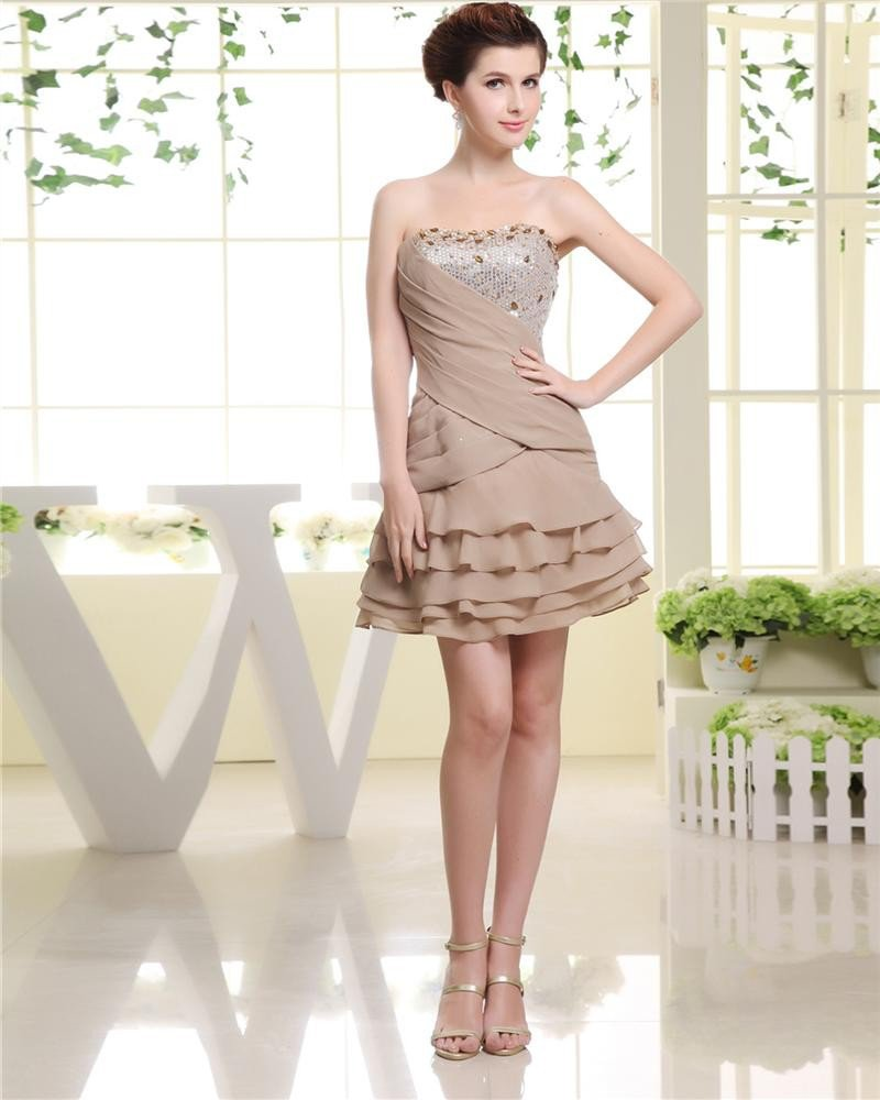 Pleat Strapless Neckline Sequined Beading Short Chiffon A-Line Woman Cocktail Dress