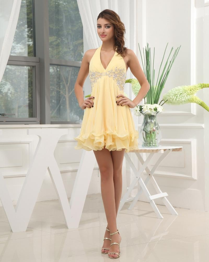 Halter Neckline Short Beading Appliques Chiffon A-Line Woman Cocktail Dress