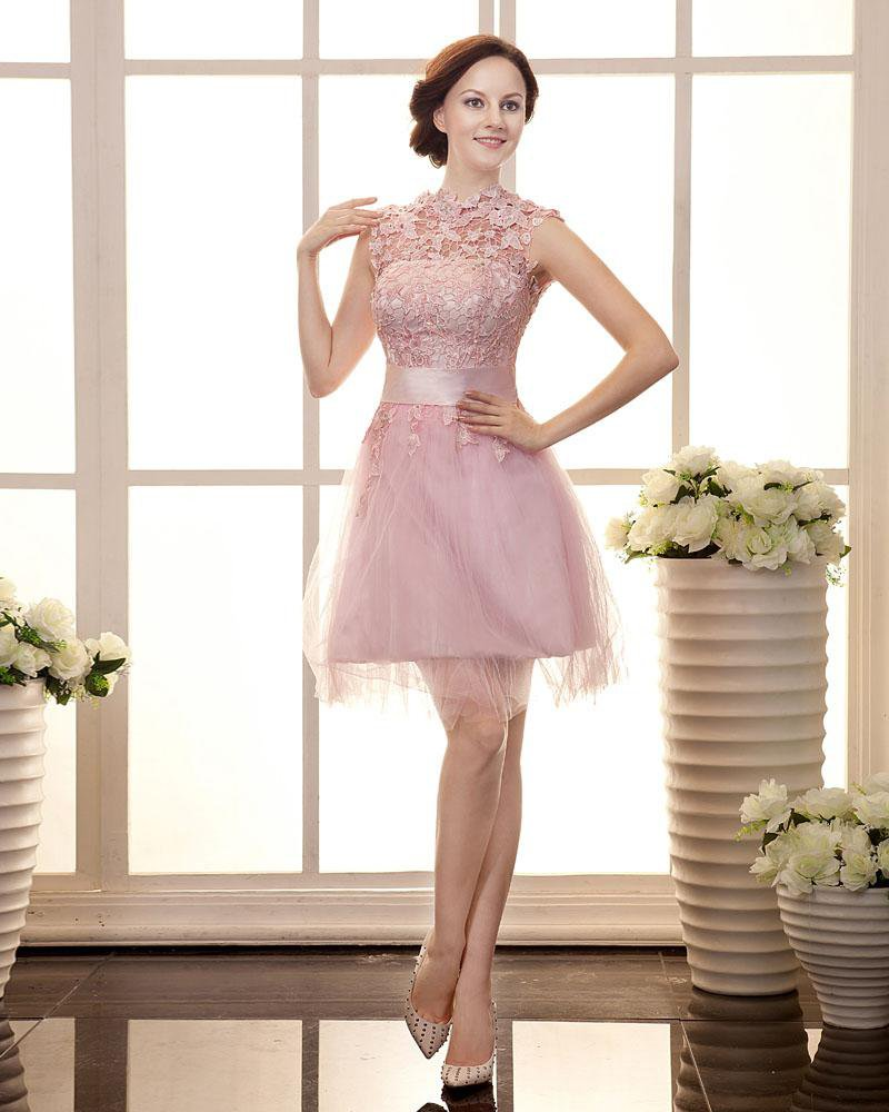 Yarn Satin Applique Pleated Round Neck Knee Length Evening Cocktail Dresses