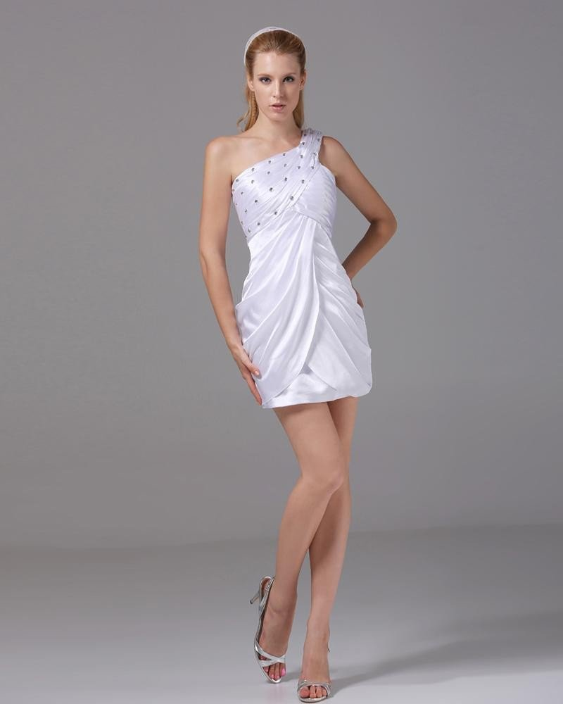One Shoulder Thigh Length Beading Pleated Imitation Silk Women Cocktail Dress