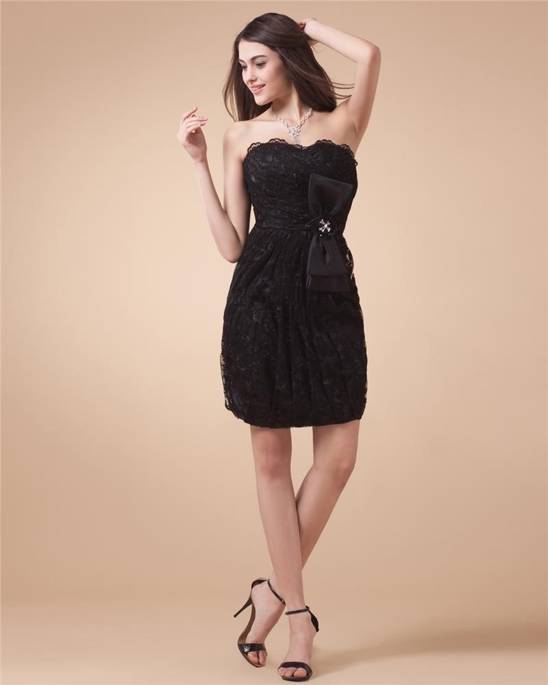 Sequins Satin Taffeta Ruffles Sleeveless Sweetheart Little Black Cocktail Dresses