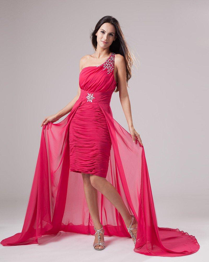 Fashion Chiffon One Shoulder Beading Ruffle Asymmetrical Length Prom Cocktail Dresses