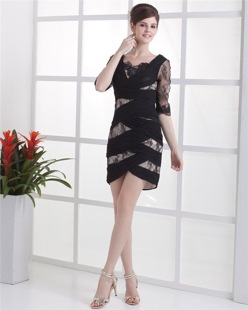 Chiffon Satin Lace Queen Anne Solid Thigh Length Celebrity Cocktail Dresses