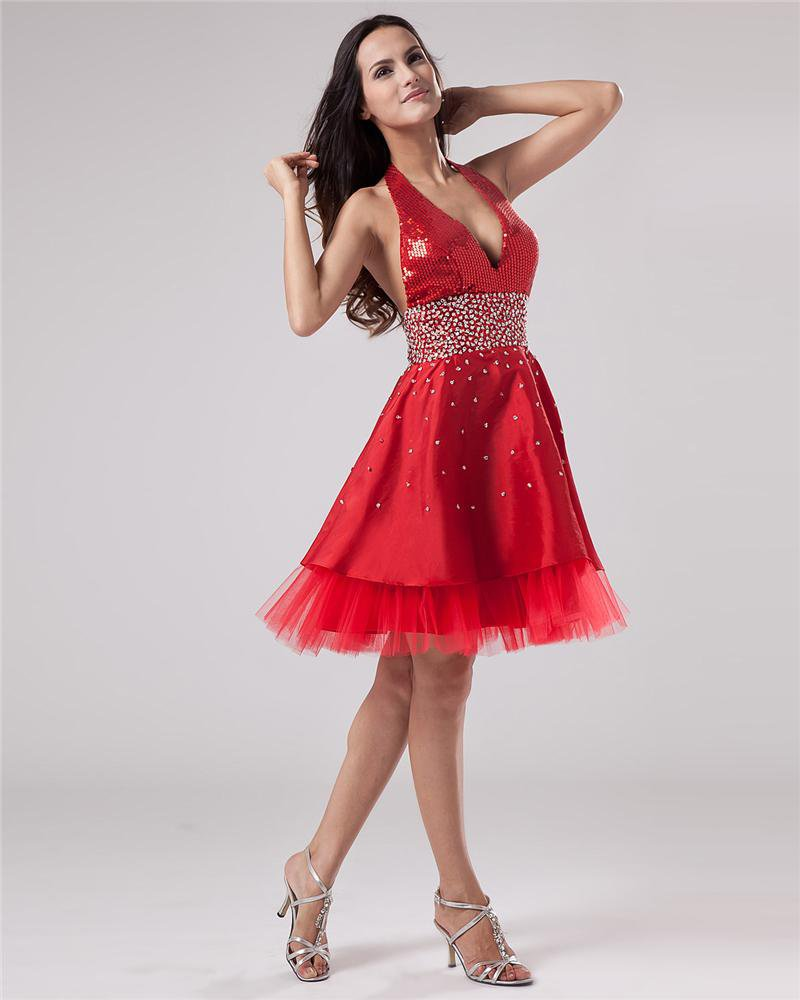 Taffeta Yarn Beading Halter Knee Length Cocktail Dress