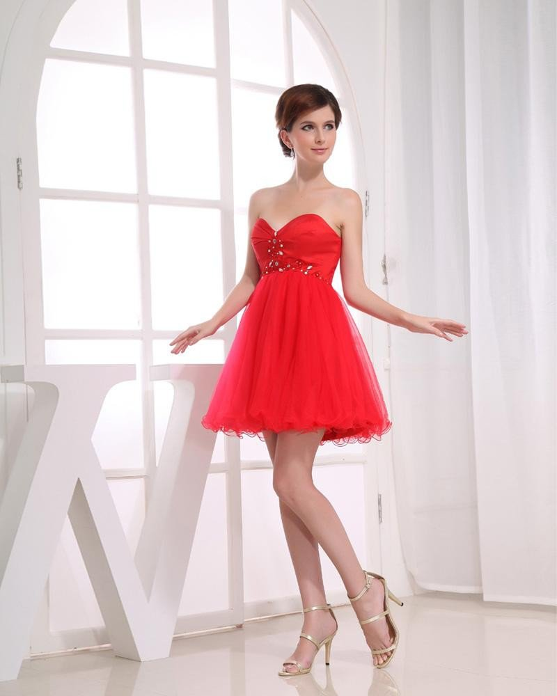 Chiffon Silk Gauze Beadings Sweetheart Sleeveless Zipper Short Pleated Cocktail Dress