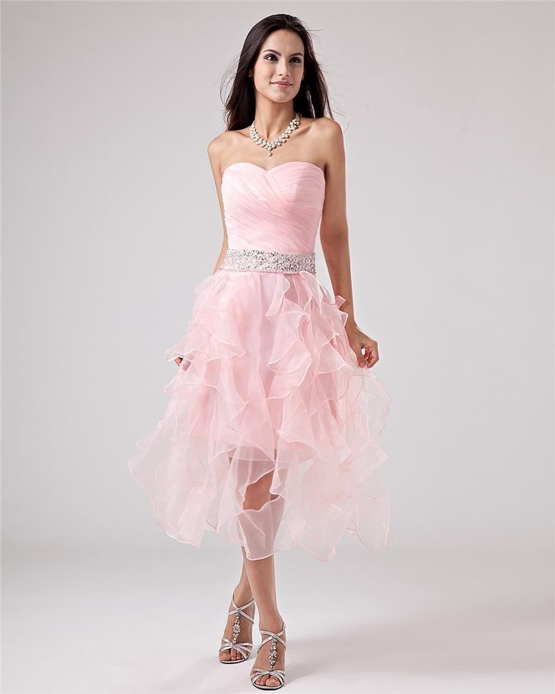 Taffeta Yarn Halter Applique Tea Length Prom Cocktail Dresses